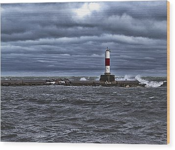 Wood Print featuring the photograph Raging Lake Michigan  by Ricky L Jones