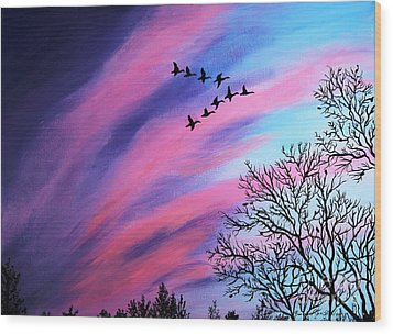 Raging Sky And Canada Geese Wood Print
