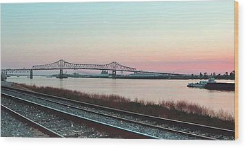 Wood Print featuring the photograph Rail Along Mississippi River by Charlotte Schafer