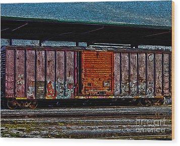 Rail Car Art Wood Print by R McLellan