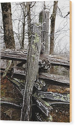 Rail Fence With Ice Wood Print by Daniel Reed