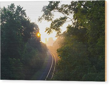 Rail Road Sunrise Wood Print by Bill Cannon