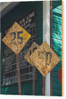 Rail Signs Wood Print by Randy Sylvia