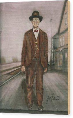 Railroad Man Wood Print by Leah Wiedemer