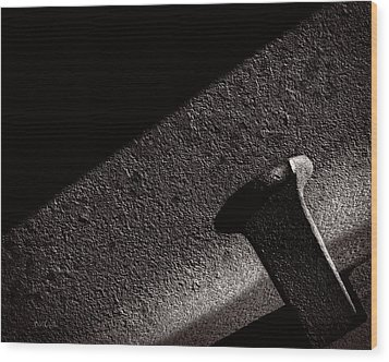 Railroad Spike And Rail Wood Print by Bob Orsillo