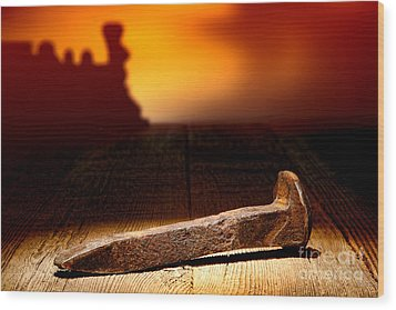 Railroad Spike Wood Print by Olivier Le Queinec