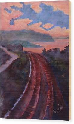 Wood Print featuring the pastel Railroad by Susan Will