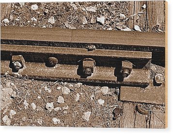 Railroad Track Wood Print by Andres LaBrada