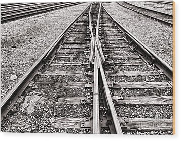 Railroad Tracks Wood Print by Olivier Le Queinec