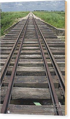 Railroad Tracks Wood Print by Sami Sarkis