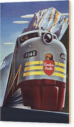 Railroad Travel Poster Wood Print by Allen Beilschmidt