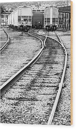 Railroad Yard Wood Print by Olivier Le Queinec