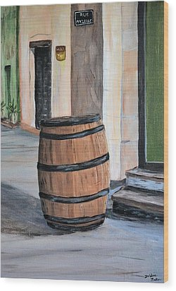 Rain Barrel Wood Print by Debbie Baker