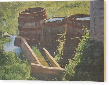 Rain Barrels With Watering Trough Wood Print