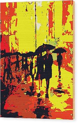 Rain Wood Print by David Alvarez