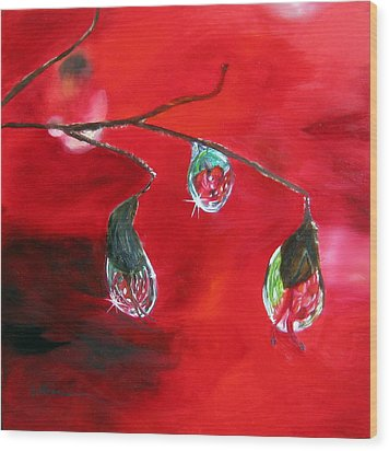 Wood Print featuring the painting Rain Drops Study by LaVonne Hand