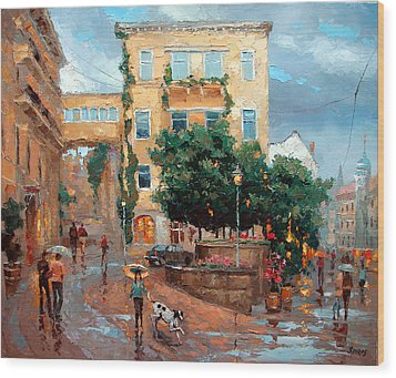 Wood Print featuring the painting Rain In Baden Baden by Dmitry Spiros