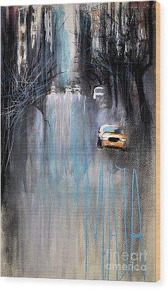 Wood Print featuring the drawing Rain In New York by Maja Sokolowska