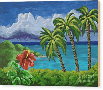 Wood Print featuring the painting Rain In The Islands by Tim Gilliland