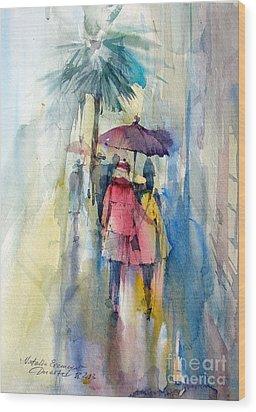 Rain Wood Print by Natalia Eremeyeva Duarte