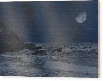 Rain Of Stars On The Sea  Wood Print