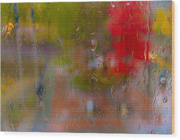 Rain On Glass Wood Print by Susan Stone