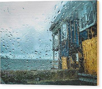 Rain On Rowing Club House Wood Print by Glenn Feron