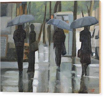 Rain On Saint Germain Wood Print
