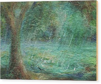 Rain On The Pond Wood Print
