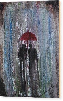 Wood Print featuring the painting Rain by Saranya Haridasan