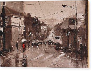 Rain Wood Print by Timorinelt Tryptykieu