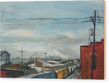 Wood Print featuring the painting Rain Train by Asha Carolyn Young