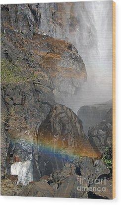 Rainbow And Mist Wood Print by Debra Thompson