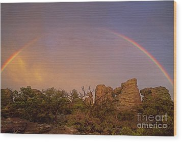Wood Print featuring the photograph Rainbow At Chiricahua by Keith Kapple