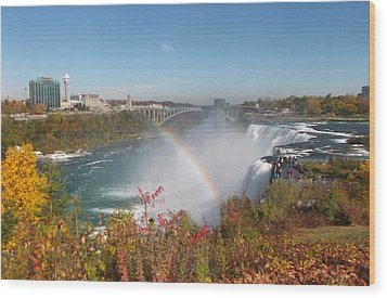 Rainbow At The American Falls Wood Print