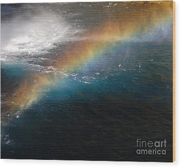 Wood Print featuring the photograph Rainbow At Waterfall Base by Debra Thompson