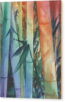Wood Print featuring the painting Rainbow Bamboo 2 by Marionette Taboniar