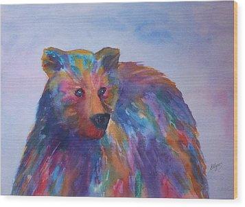 Rainbow Bear Wood Print by Ellen Levinson