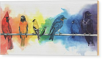 Rainbow Birds Wood Print by Antony Galbraith