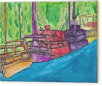 Wood Print featuring the painting Rainbow Boats by Artists With Autism Inc