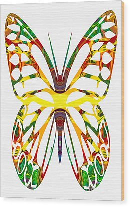 Rainbow Butterfly Abstract Nature Artwork Wood Print by Omaste Witkowski