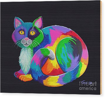 Rainbow Calico Wood Print by Nick Gustafson