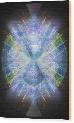 Wood Print featuring the digital art Rainbow Chalice Cell Isphere Matrix by Christopher Pringer