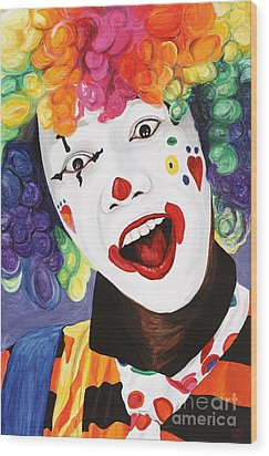 Rainbow Clown Wood Print by Patty Vicknair
