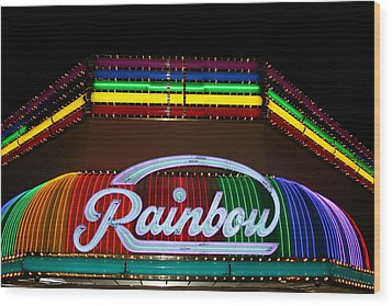 Rainbow Club Neon Wood Print