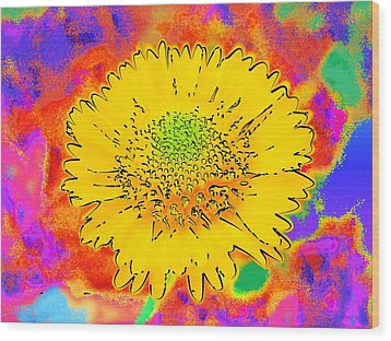 Wood Print featuring the painting Rainbow Colored Sunshine Flower- Because I'm Happy by David Mckinney