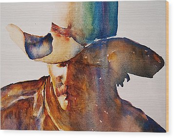 Wood Print featuring the painting Rainbow Cowboy by Jani Freimann