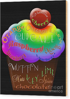 Rainbow Cupcake Typography Wood Print by Andee Design