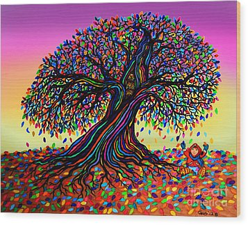 Rainbow Dreams And Falling Leaves Wood Print by Nick Gustafson