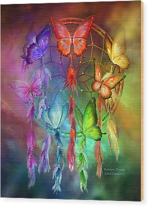 Wood Print featuring the mixed media Rainbow Dreams by Carol Cavalaris